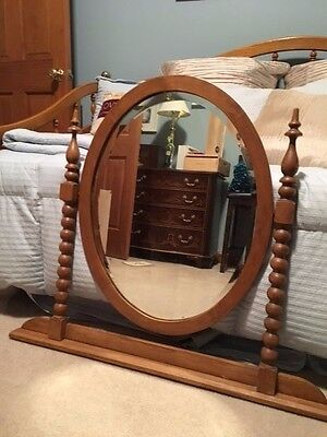 Vintage Wooden Swivel Vanity Mirror For Dresser Beveled Glass
