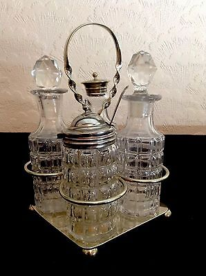 Antique Silver Plate & Cut Glass Cruet Set On Stand - MW&S - No 9