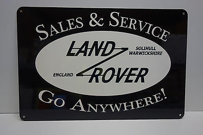 "Land Rover Sales & Service Dealership Sign. Go Anywhere. 14.75""x22"" Very Scarce!"