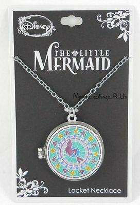 New Disney The Little Mermaid Ariel Stained Glass Locket Pendant Necklace Sketch