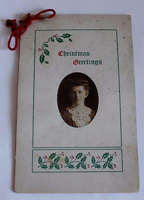 RARE Antique 1906 CHRISTMAS CARD GIVEN TO CLASS FROM TEACHER Brigham Quebec