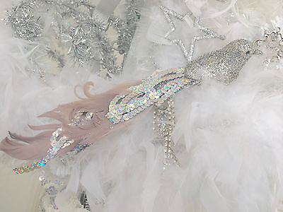 Set 2 Shabby Chic Silver Christmas Tree Wreath Feather Birds Decoration Ornament