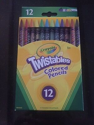 CRAYOLA TWISTABLES PENCILS 12 x  BRILLIANT COLOURS BRAND NEW - FREE POST