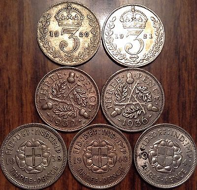 1920-1941 Lot Of 7 Uk Great Britain Silver Threepence Lower To Better Grade #au