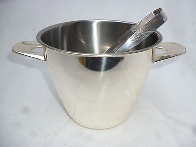 RETRO POLISHED WMF GERMAN ICE BUCKET with TONGS - 1970s Vintage