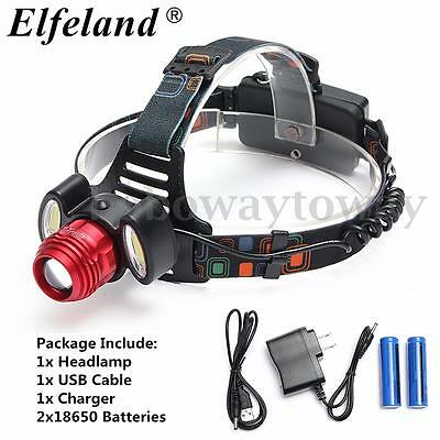 NEW Elfeland 15000Lm T6 LED + 2 COB Rechargeable Lampe Frontale Headlight 18650