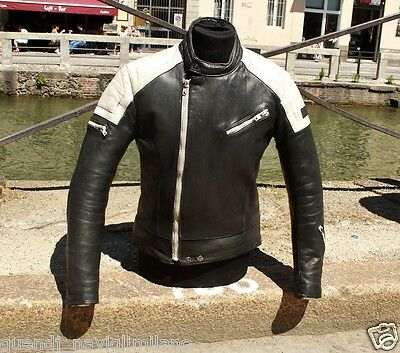 Giubbotto giacca moto in pelle nero bianco cafe racer custom anni 70 tg M
