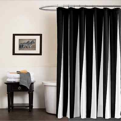 Black White Fabric Shower Curtain Liner Polyester Waterproof Bathroom Decor