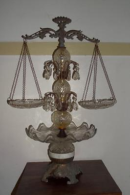 """Antique Glass & Marble Scales Of Justice Table Centerpiece Made in Italy 28""""Tall"""