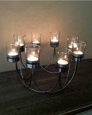 Tea Light Glass Candle Holder Wedding Christmas Table Centrepiece + 8 candles