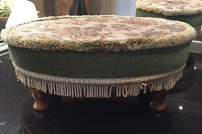 Vintage Oval Foot Stool/Seat Light Gold/Fern Green Fabric cover-wood feet