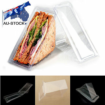 AU STOCK 100pcs Healthy Plastic Sandwich Container Triangle Wedge Fast Shipping