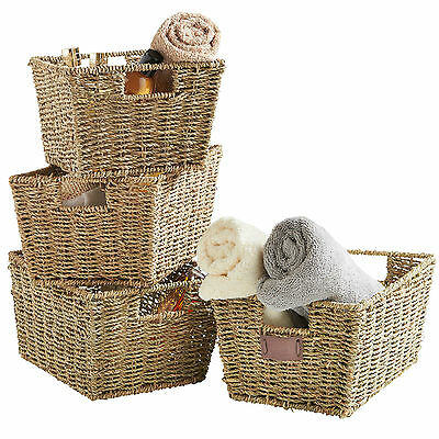 VonHaus Set of 4 Natural Hand Made Seagrass Woven Storage Baskets with Handles