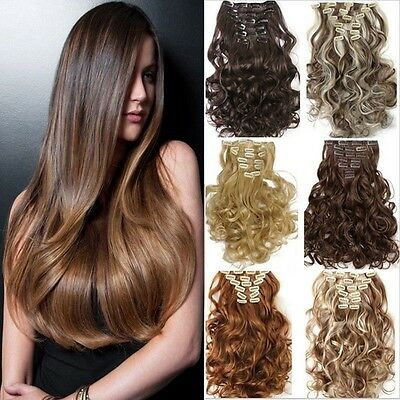 UK Full Head Real Thick Clip In Lady Hair Extensions Wavy Curly Straight 8 Piece