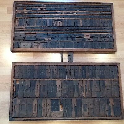 Antique Wood Block Letters Numbers Printing Press 325 & Trays Primative Printers