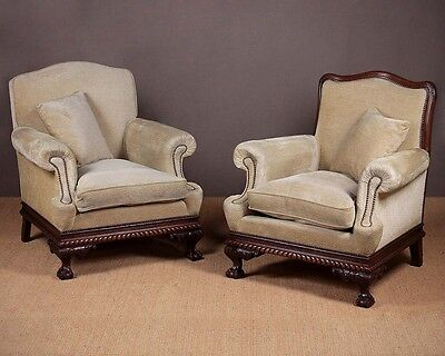 Pair of Vintage Low Back Easy Armchairs c.1920.