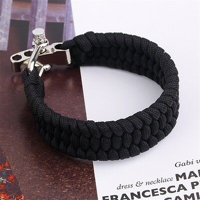 Outdoor Survival Paracord Bracelet Camping Self-rescue Parachute Rope Clasp KY