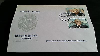 Falkland Islands 1974 Sg 304-305 Churchill  First Day Cover