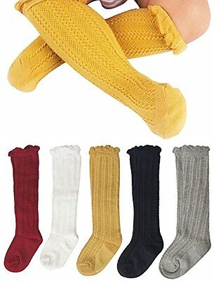 Gellwhu Cable-Knit Knee High Cotton Socks For Newborn Baby Girls Boys Toddlers