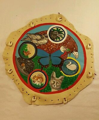 "Beautiful Hand Painted 15"" Rawhide Drum Head"