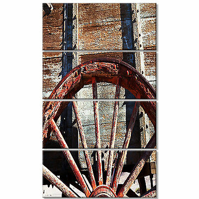 'Old Brown Cart Wheel' 4 Piece Photographic Print on Wrapped Canvas Set