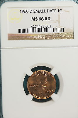 1960-D NGC MS66 RED SMALL DATE Lincoln Memorial Cent!! #A2890