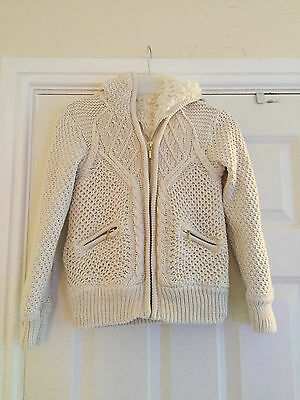 Marks & Spencer cream cable knit girl's hoodie with furry lining age 7-8 years