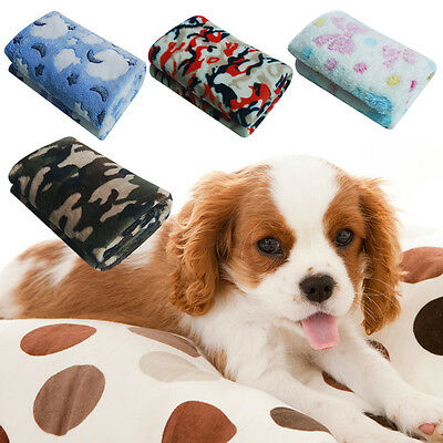 Warm Pet Mat Small Large Paw Print Cat Dog Puppy Fleece Blanket Bed Cushion NEW