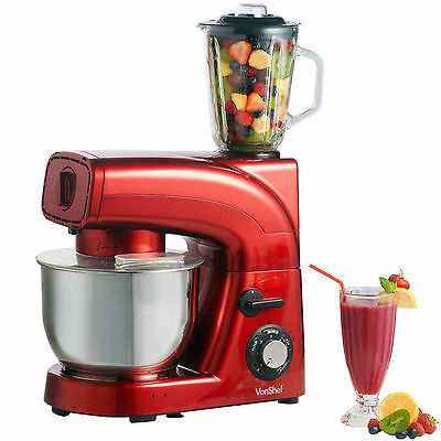 VonShef 1200W Red Stand Mixer with Blender & Meat Grinder