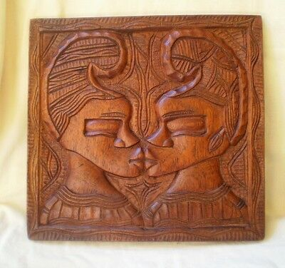 Vintage Mahogany Carving Wall Plaque Polynesian Couple