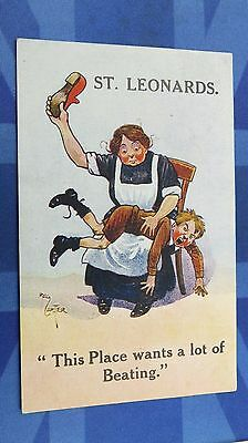 Reg Carter ST LEONARDS Comic Postcard 1910s THIS PLACE WANTS A LOT OF BEATING