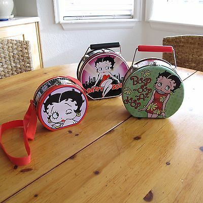 3X Lot of Betty Boop Cartoon Decorative Collectible Tins Purses Lunch Boxes