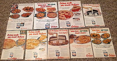 Lot of 9 Crisco Shortening Fried Chicken Cakes Cooking Vintage Food Print Ads
