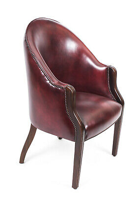 Bespoke English Handmade Leather Desk Chair Burgundy