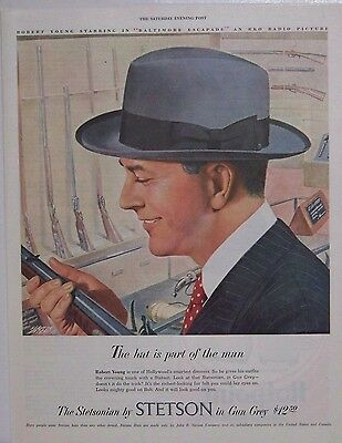 Original 1949 Stetson Hats Magazine Ad with Robert Young