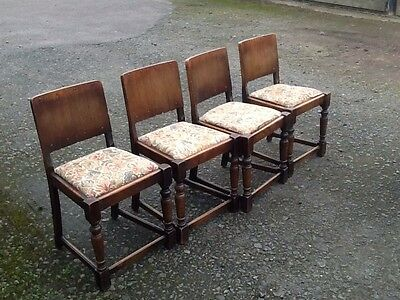 1 x set(4) old dark wooden dining chairs with floral upholstered seat