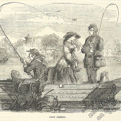 Fishing from a Punt: antique 1866 engraving print animal art nature picture boat