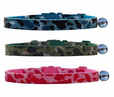 Army Green  Airforce Blue Camo Pink Camouflage safety kitten cat collar 3 sizes