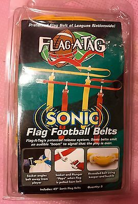 """Flag-a-Tag Sonic Boom Flag Football Belts Flags 42"""" Waist Lot of 3 Yellow Gold"""