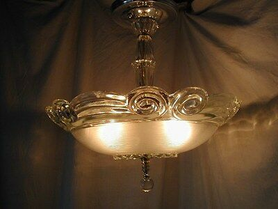 Vtg 30S Art Deco Clear Glass Shade Crystal Chrome Chandelier 3 Light Fixture