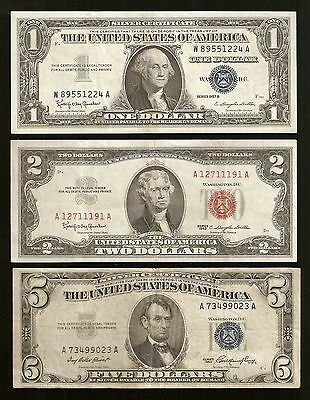 $1, $2, & $5 Us Currency Note Set / Collection