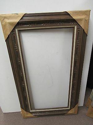 VINTAGE MID CENTURY Mexican Carved Wood Picture Frame Gilt Fits 30 x ...