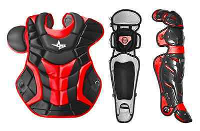 All Star System 7 Adult Chest Protector and Leg Guards - Black Red