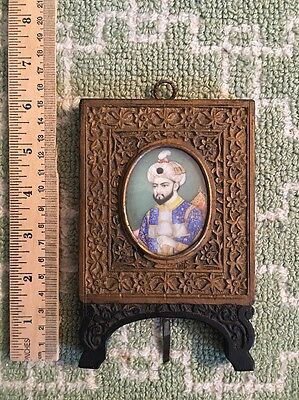 19th c Indian Miniature Painting Mughal Portrait Royal Imperial