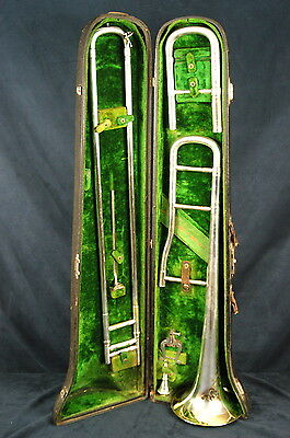Antique York and Sons Silver Trombone. Original Case. Complete Period Piece.
