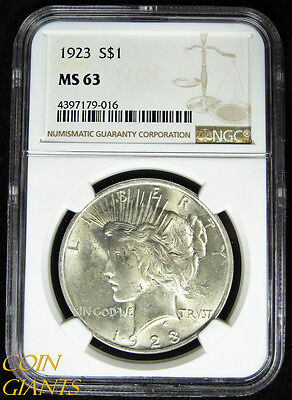 1923 Peace Silver Dollar NGC MS63 Choice BU White Philadelphia Mint Coin Rare $1