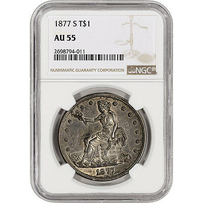 1877-S US Silver Trade Dollar T$1 - NGC AU55