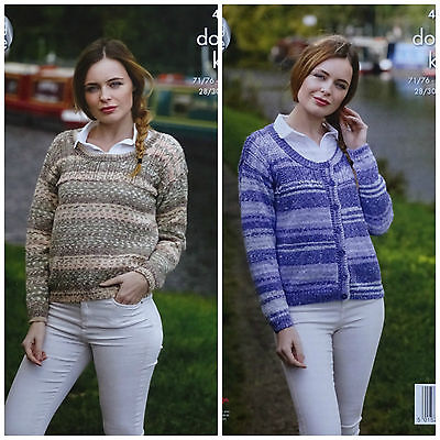 KNITTING PATTERN Ladies Scoop Neck Cable Cardigan & Jumper DK King Cole 4801