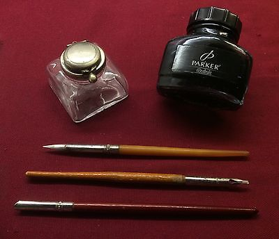 Lot Vintage Mitchell Calligraphy Ink Dip Pens,velos Inkwell,parker Quink Bottle