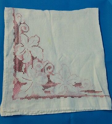 Card Table Cloth Embroidered Cross Stitch White Pinks Lt Med Dark Vintage